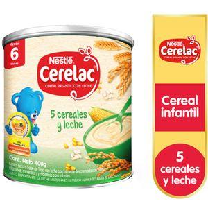 Cereal Infantil CERELAC 5 Cereales y Leche Caja 400g