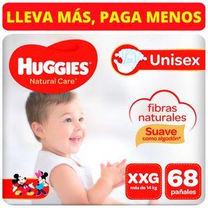 Pañales para Bebé HUGGIES Natural Care Puro y Natural Talla XXG Paquete 68 Un