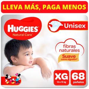 Pañales para Bebé HUGGIES Natural Care Puro y Natural Talla XG Paquete 68 Un